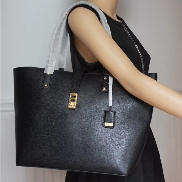 Michael kors large karson leather tote bag black NWT